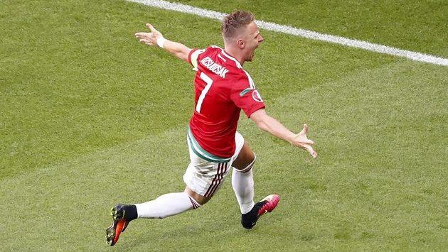 Maďar Balázs Dzsudzsák se raduje poté, co vstřelil gól proti Portugalsku.
