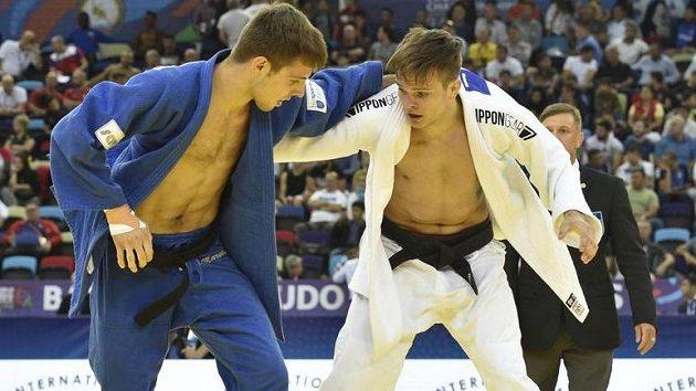 Judista Jakub Ječmínek (v bílém) porazil na mistrovství světa v Baku v 1. kole váhy do 73 kilogramů světovou devítku Arthura Margelidona z Kanady.