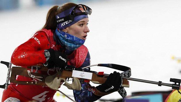 Slovenská biatlonistka Paulína Fialková v olympijském závodě smíšených štafet.
