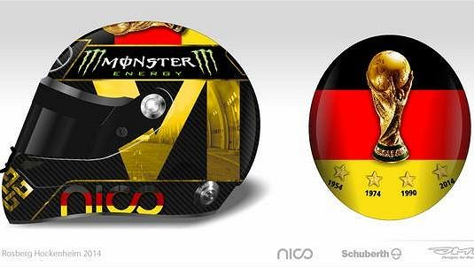 Původní design nové helmy Nica Rosberga na počest německých fotbalových mistrů.