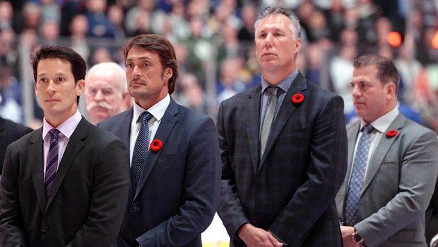 Do hokejové Síně slávy přibyly další čtyři hokejisté. Zleva Paul Kariya, Teemu Selanne, Dave Andreychuk a Mark Recchi.