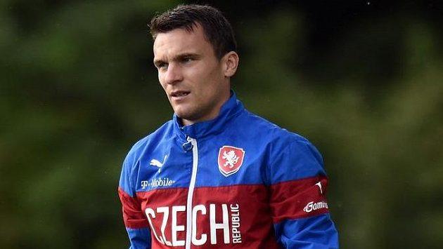Útočník David Lafata během tréninku české fotbalové reprezentace.