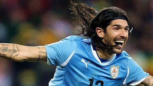 Sebastián Abreu ještě v dresu uruguayské reprezentace.