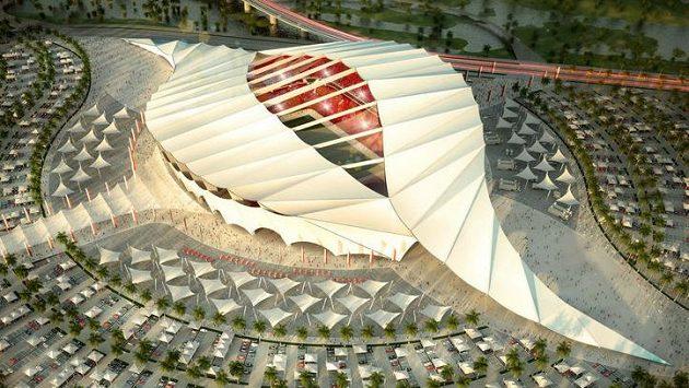 Vizualizace Al Raján Stadium, jednoho z dějišť MS v Kataru. Ilustrační snímek.