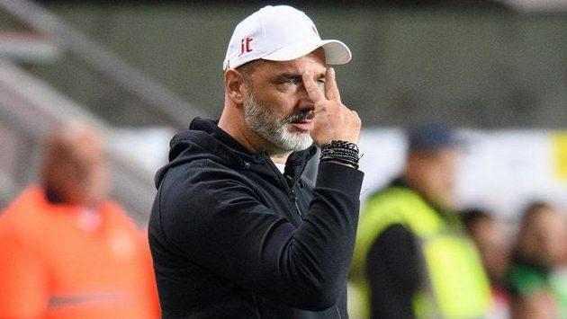 Trenér Slavie Praha Jindřich Trpišovský během utkání s Příbramí.