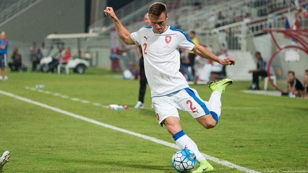 Šimon Falta v utkání s Katarem.