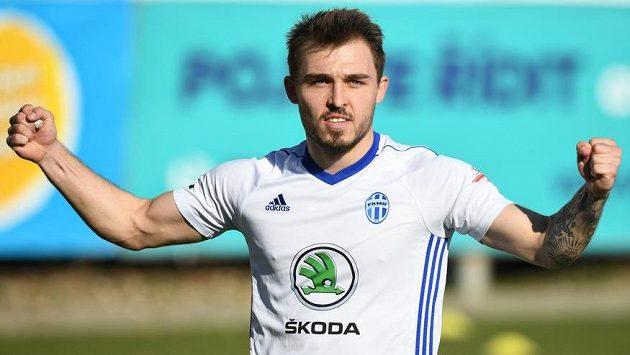 Tomáš Ladra z Mladé Boleslavi oslavuje gól