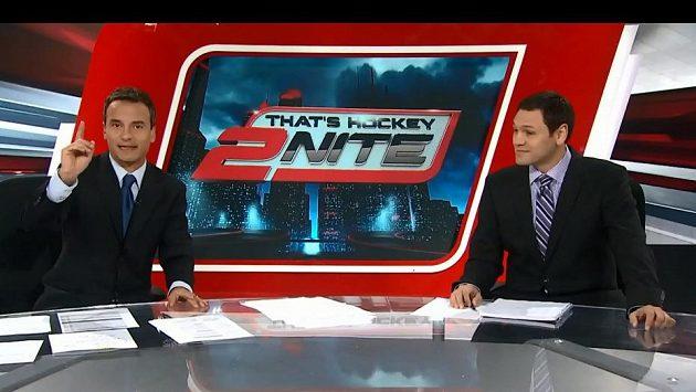Steve Kouleas (vlevo) v debatě studia TSN s bývalým brankářem a dnes televizním expertem Jamiem McLennanem na téma Hertlova čtvrtého gólu.