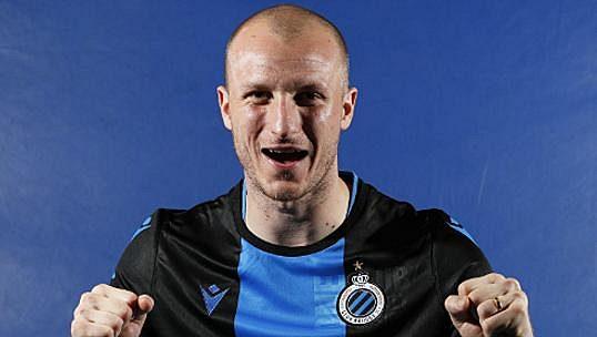 Plzeňský ostrostřelec Michael Krmenčík v novém dresu Clubu Bruggy.