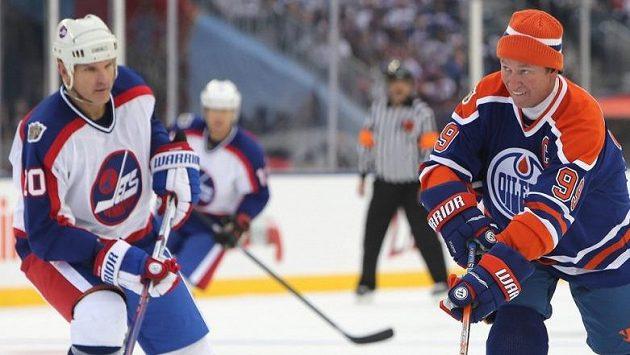Wayne Gretzky nebyl se svým výkonem spokojený, nepřipsal si v exhibici ve Winnipegu ani bod.