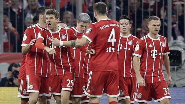 Gólová radost fotbalistů Bayernu - ilustrační foto.