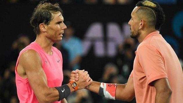 Rafael Nadal a Nick Kyrgios po vzájemném duelu