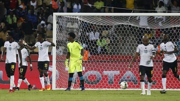 Reakce fotbalistů Ghany po inkasované brance.