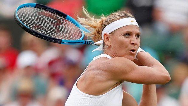 Lucie Šafářová na letošním Wimbledonu.