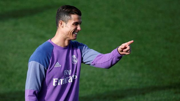 Cristiano Ronaldo při tréninku Realu Madrid.