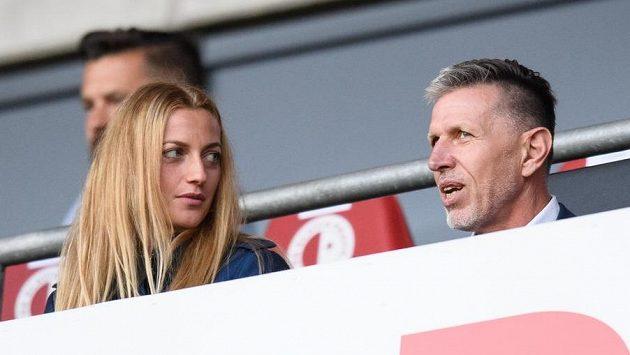 Zápas pražské Slavie se Slováckem si nenechali ujít ani tenistka Petra Kvitová a trenér reprezentace Jaroslav Šilhavý.