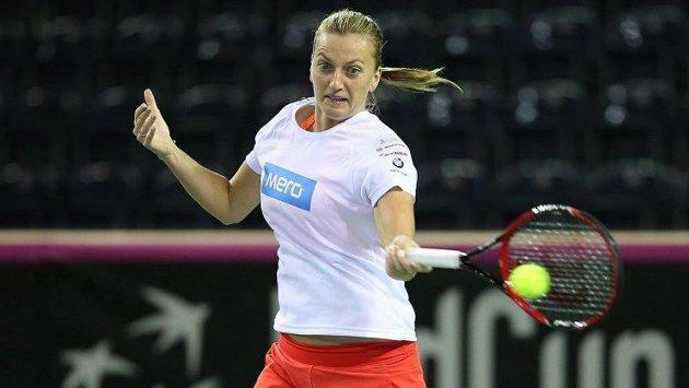 Petra Kvitová při tréninku v hale v Kluži před utkáním 1. kola Fed Cupu s Rumunskem.