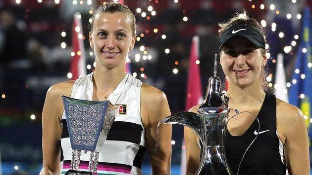 Petra Kvitová a Belinda Bencicová v Dubaji.