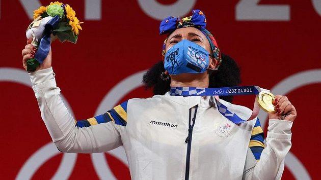 Druhou zlatou medaili pro Ekvádor na olympiádě v Tokiu získala vzpěračka Neisi Dajomesová Barrerová