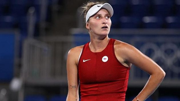 Markéta Vondroušová během olympijského turnaje.