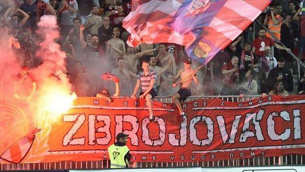 Fanoušci Brna během utkání s Plzní.