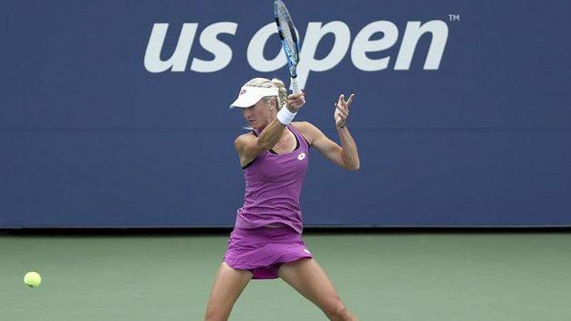 Denisa Allertová při utkání s Petrou Kvitovou v 1. kole US Open.