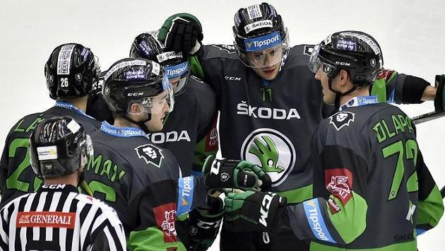 Radost hokejistů Mladé Boleslavi.