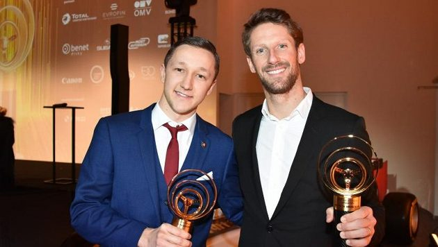 Petr Nikodém a jezdec F1 Fean Grosjean se Zlatými volanty