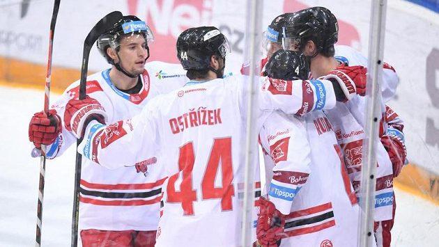 Radost hokejistů Olomouce. Ilustrační foto.