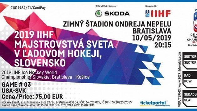 Vstupenka na utkání Slovenska s USA na hokejovém MS 2019 v Košicích.