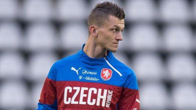 Útočník Tomáš Necid na tréninku české reprezentace před zápasy kvalifikace ME 2016 s Tureckem a v Nizozemsku.