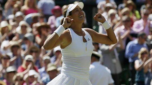 Radost Garbiňe Muguruzaové po postupu do finále Wimbledonu. Bude mít Španělka důvod k oslavám i dnes?