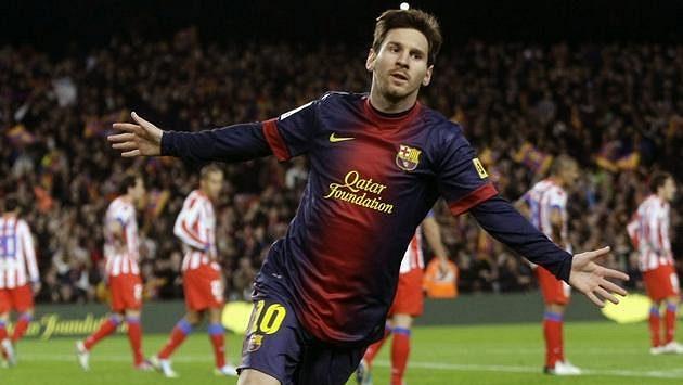 Barcelonský Lionel Messi slaví svůj gól proti Atlétiku Madrid.