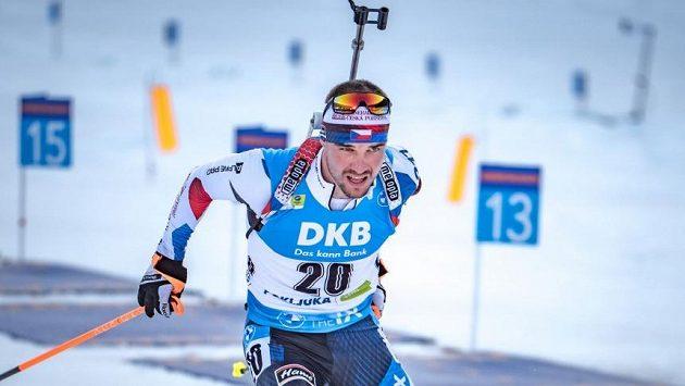Michal Krčmář při závodě s hromadným startem.