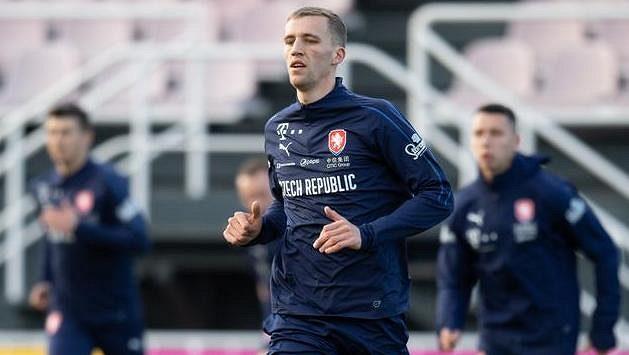 Tomáš Souček během tréninku fotbalové reprezentace