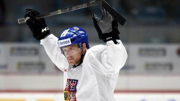 Obránce Jan Hejda během tréninku hokejové reprezentace.