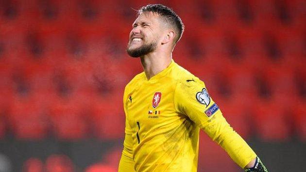 Český brankář Tomáš Vaclík během utkání kvalifikace MS 2022 proti Belgii.