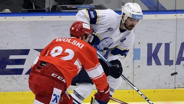 Ladislav Zikmund z Kladna během utkání s Třincem - ilustrační foto.
