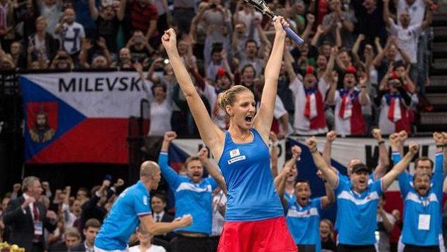 Takhle Karolína Plíšková jásala po proměněném mečbolu v rozhodující čtyřhře finále Fed Cupu s Ruskami.