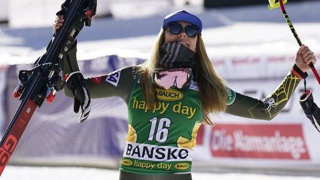Mikaela Shiffrinová se raduje z vítězství