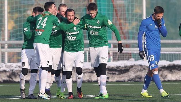 Radost hráčů Jablonce v derby s Libercem - ilustrační foto.