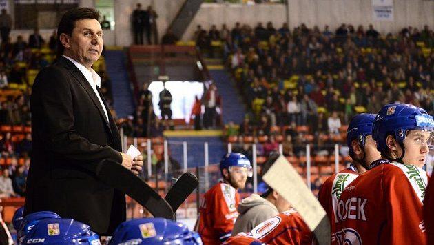 Trenér české hokejové reprezentace Vladimír Růžička na střídačce.