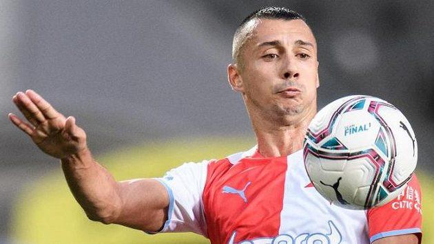 Ivan Schranz ze Slavie Praha během utkání play off Evropské ligy s Legií Varšava.