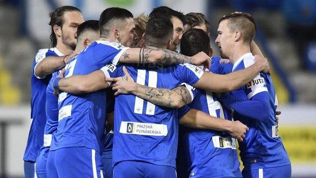 Liberečtí se radují z gólu v pohárovém osmifinále s Karvinou.