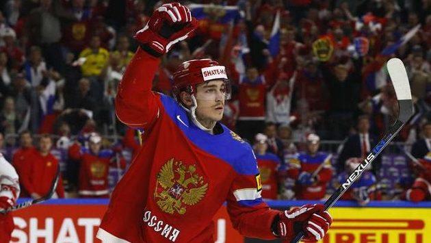 Bogdan Kiselevič se raduje z prvního ruského gólu proti Dánům.