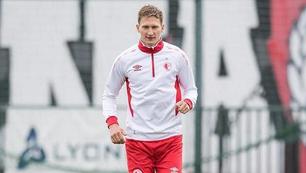 Útočník Slavie Milan Škoda během tréninku.