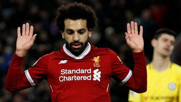 Mohamed Salah z Liverpoolu po svém gólu do sítě Chelsea.