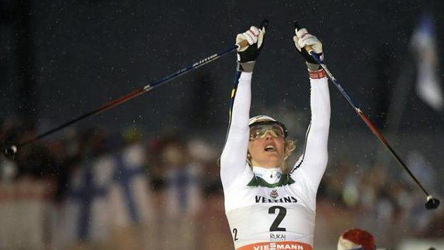 Švédka Stina Nilssonová slaví výhru v Ruce.