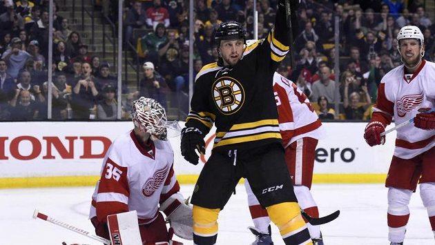 Křídelník Bostonu Matt Beleskey slaví gól v síti brankáře Jimmyho Howarda z Detroitu. Který z klubů se nakonec bude radovat z postupu do play off?