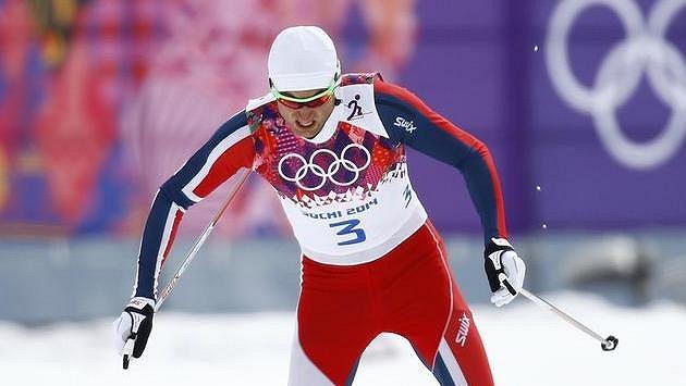 Nor Petter Northug na trati olympijského sprintu v Soči.